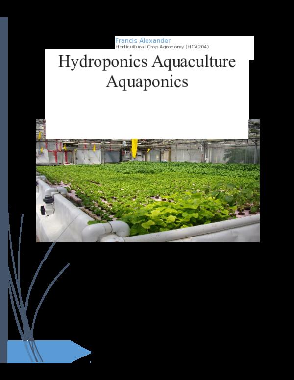 DOC) Project base on hydroponics, aquapomics and aquaculture
