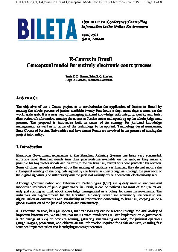 PDF) E-Courts in Brazil Conceptual model for entirely