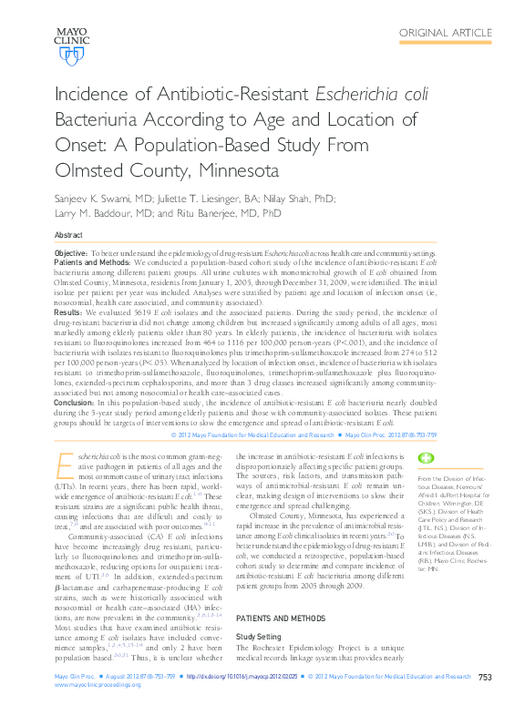 PDF) Incidence of Antibiotic-Resistant Escherichia coli