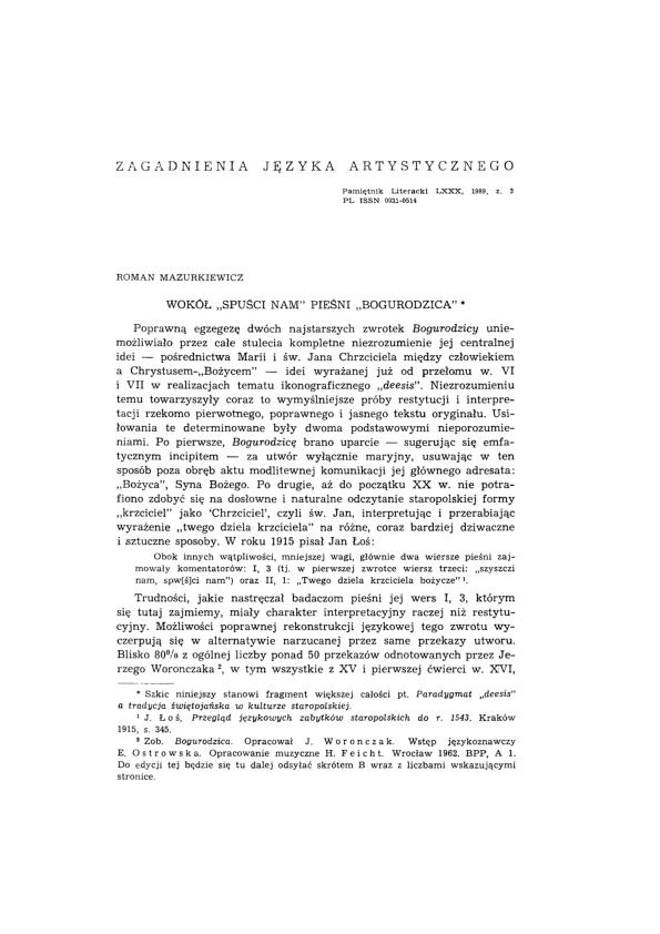 Wokół Spuści Nam Pieśni Bogurodzica Roman Mazurkiewicz