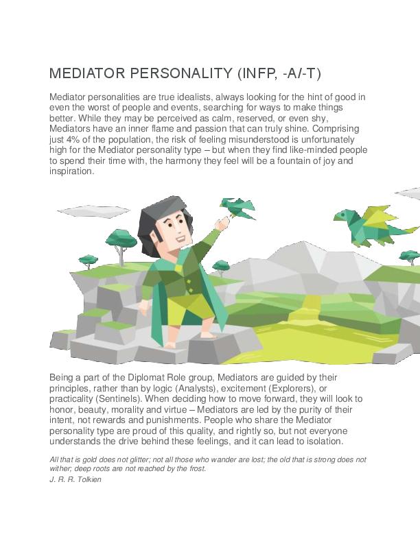 PDF) MEDIATOR PERSONALITY (INFP, -A/-T | vishnu gautam