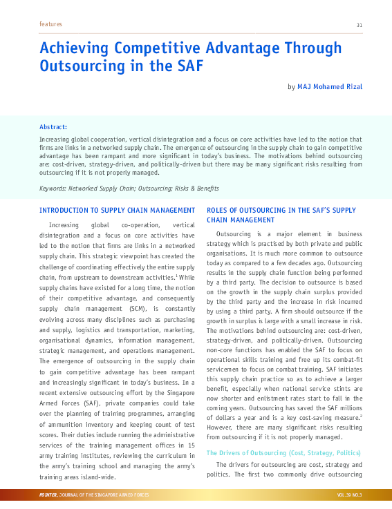 PDF) Achieving Competitive Advantage Through Outsourcing in the SAF