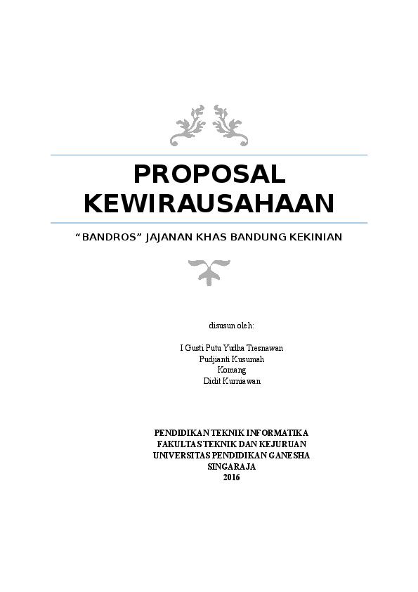 DOC) PROPOSAL KEWIRAUSAHAAN.docx | Fudjianti Kusumah - Academia.edu