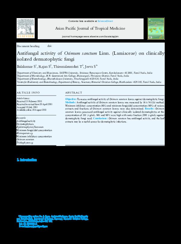 PDF) Antifungal activity of Ocimum sanctum Linn  (Lamiaceae