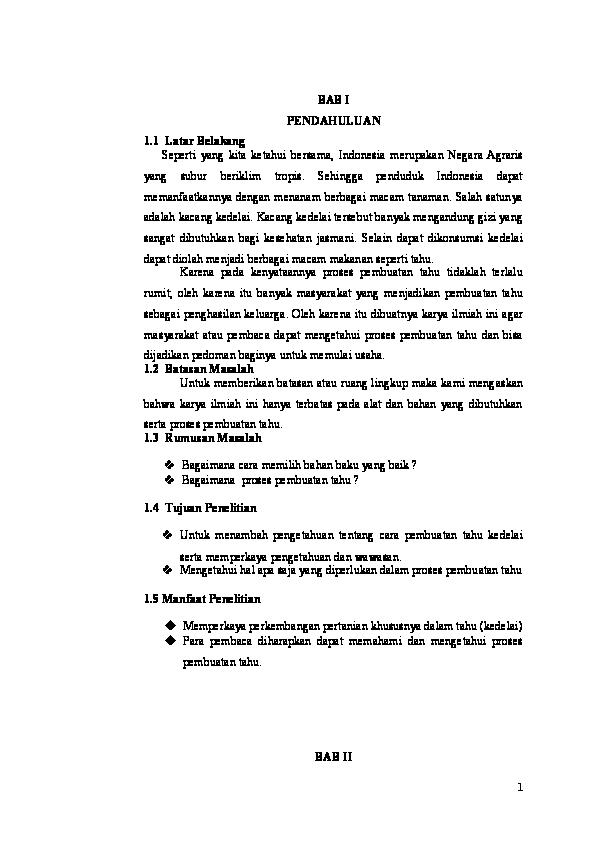 Doc Makalah Pembuatan Tahu Dari Biji Kedelai Devil Bat Academia Edu