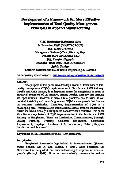 PDF) Development of a Framework for More Effective