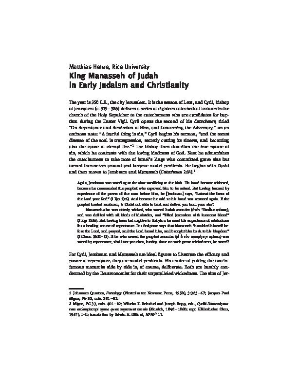 PDF) King Manasseh of Judah in Early Judaism and