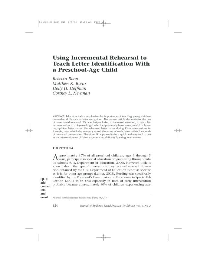 Pdf Using Incremental Rehearsal To Teach Letter Identification