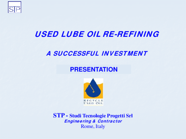 PDF) USED LUBE OIL RE-REFINING A SUCCESSFUL INVESTMENT