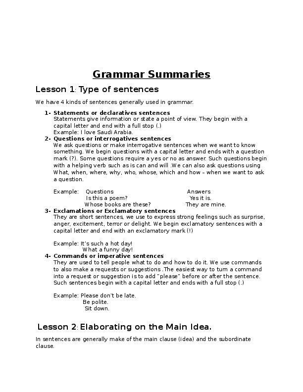 DOC) Grammar Summaries Lesson 1: Type of sentences | Vessah Jospin