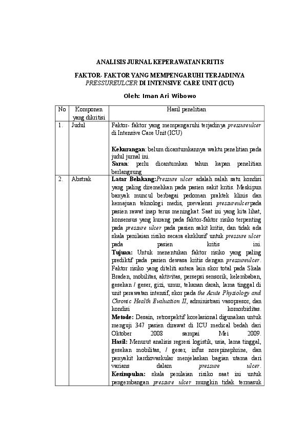 Doc Analisis Jurnal Keperawatan Kritis Wulanwuellanputdzi Wulanwuellanputdzi Academia Edu