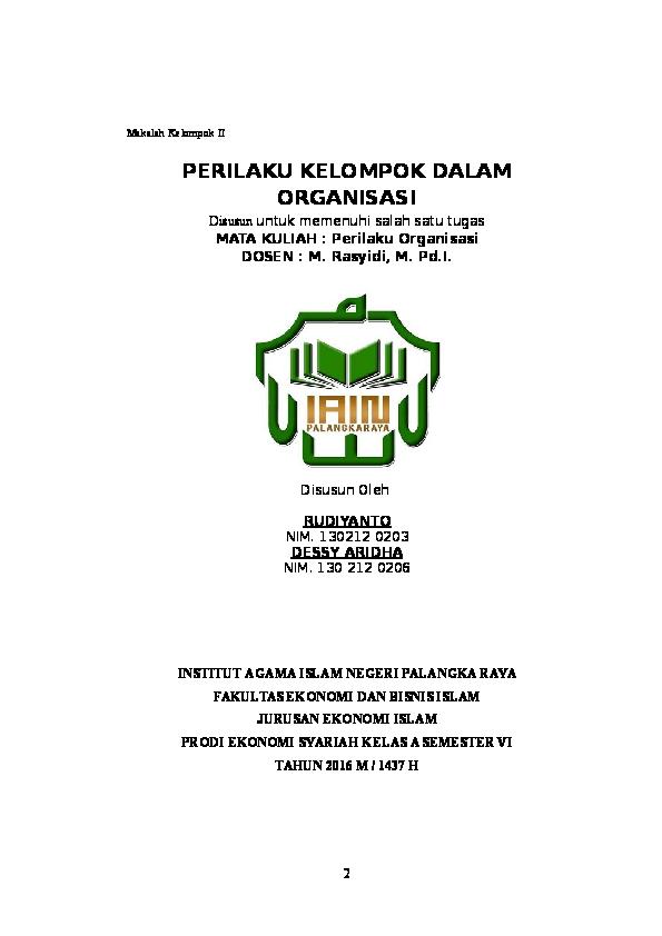 Doc Perilaku Kelompok Dalam Organisasi Rudi Rudiyanto Academia Edu