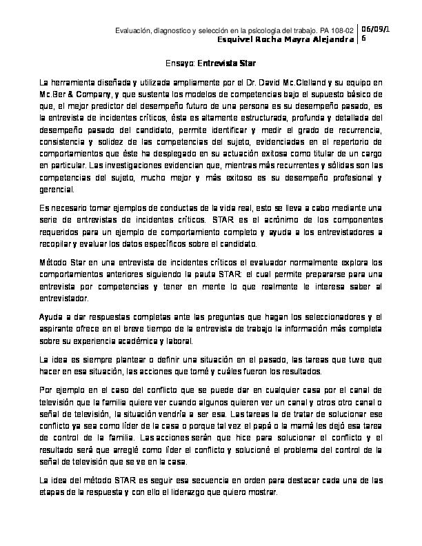 Doc Ensayo Entrevista Star Mayra Esquivel Rocha