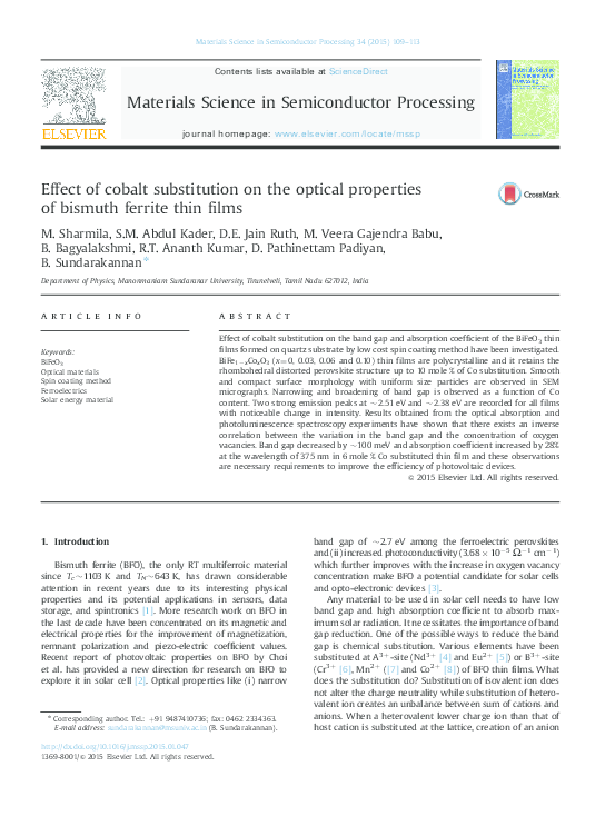 PDF) Effect of cobalt substitution on the optical properties