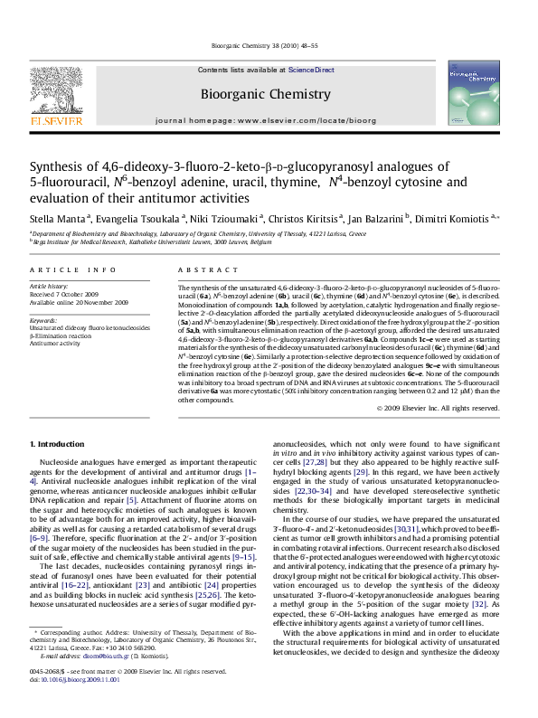 PDF) Synthesis of 4,6-dideoxy-3-fluoro-2-keto-β- d