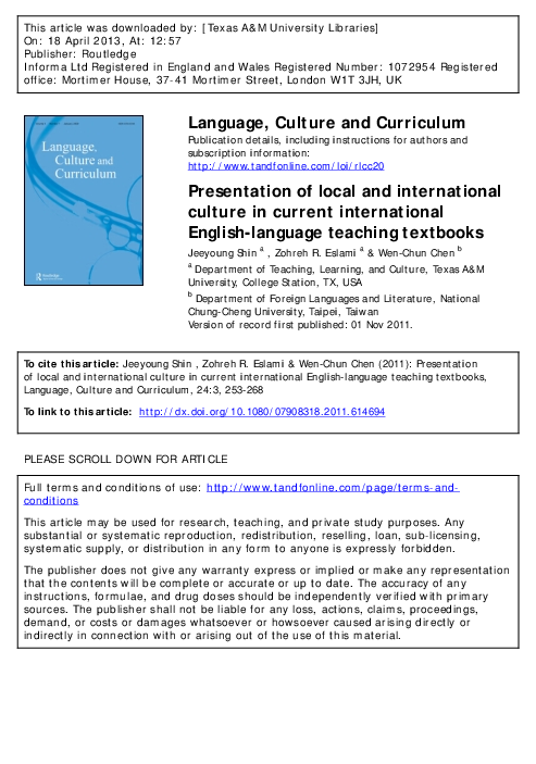 pdf  presentation of local and international culture in current international english