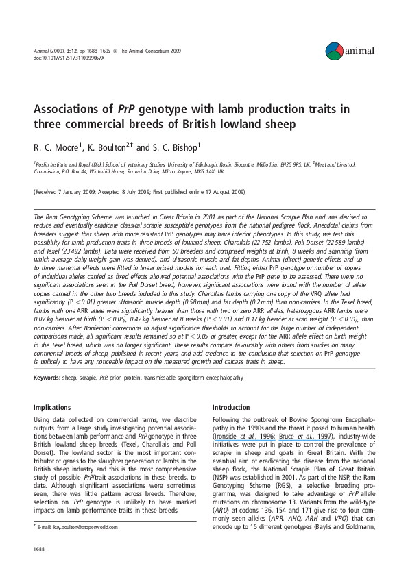 PDF) Associations of PrP genotype with lamb production