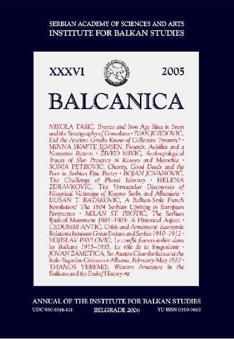 PDF) Balcanica XXXVI (2005) | Institute for Balkan Studies