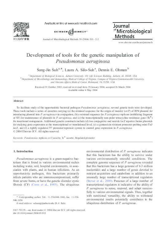 PDF) Development of tools for the genetic manipulation of