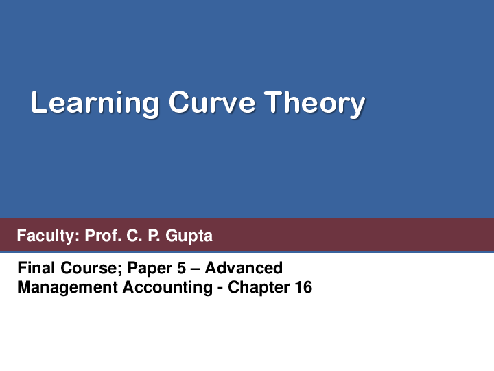 PDF) Learning Curve Theory Final Course