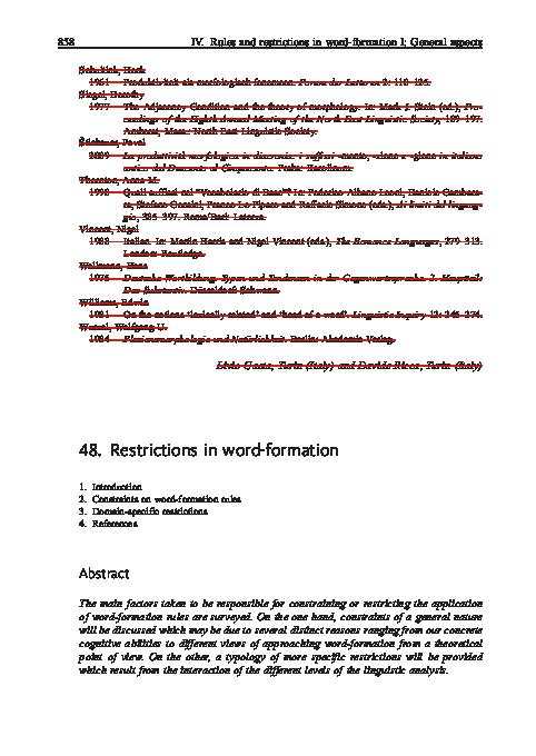 PDF) Restrictions in word-formation | Livio Gaeta - Academia edu