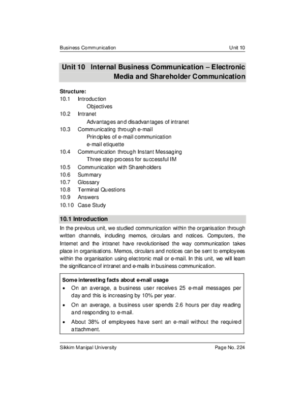 PDF) Unit 10 IBC Electronic Media and Shareholder Communication