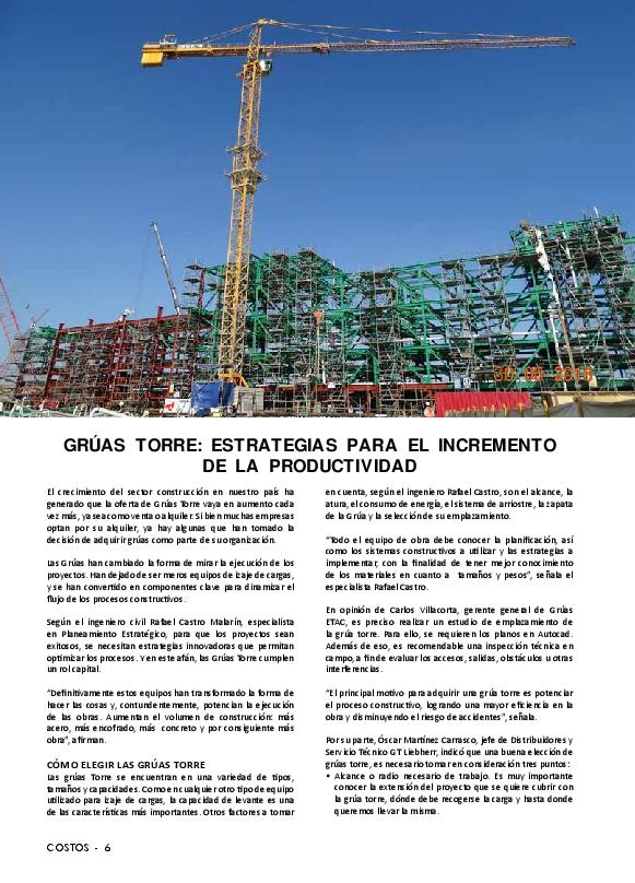 Rafael La Castro Productividad Torre Su Y Grúas En Impacto wU07pX