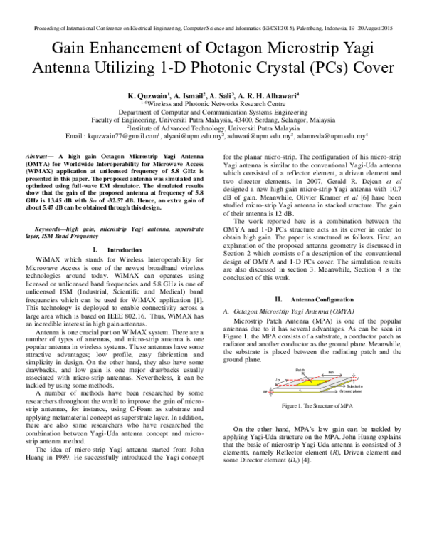 PDF) Gain Enhancement of Octagon Microstrip Yagi Antenna