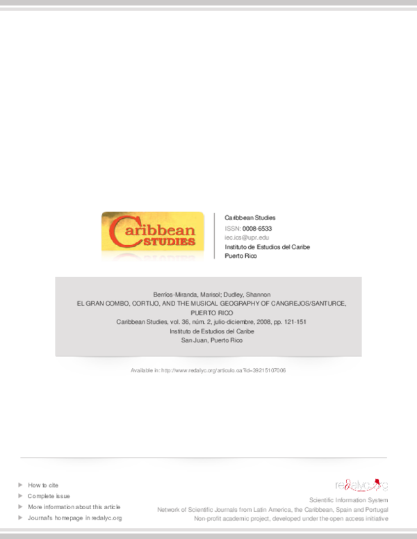 Pdf El Gran Combo Cortijo And The Musical Geography Of