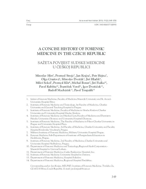 Pdf A Concise History Of Forensic Medicine In Czech Republic Frantisek Vorel Academia Edu