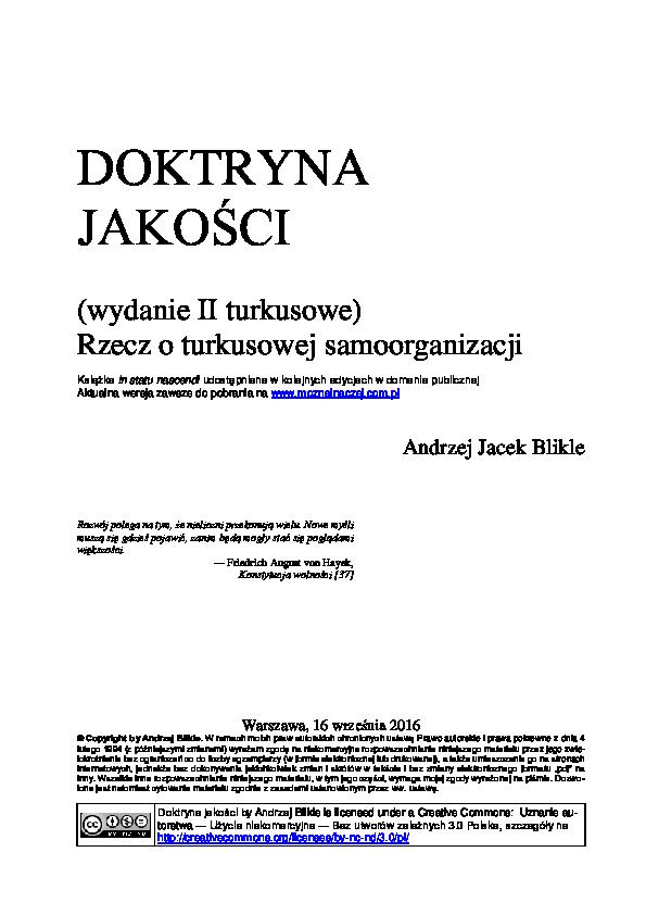 Pdf Doktryna Jakości Wydanie Ii Turkusowe Rzecz O