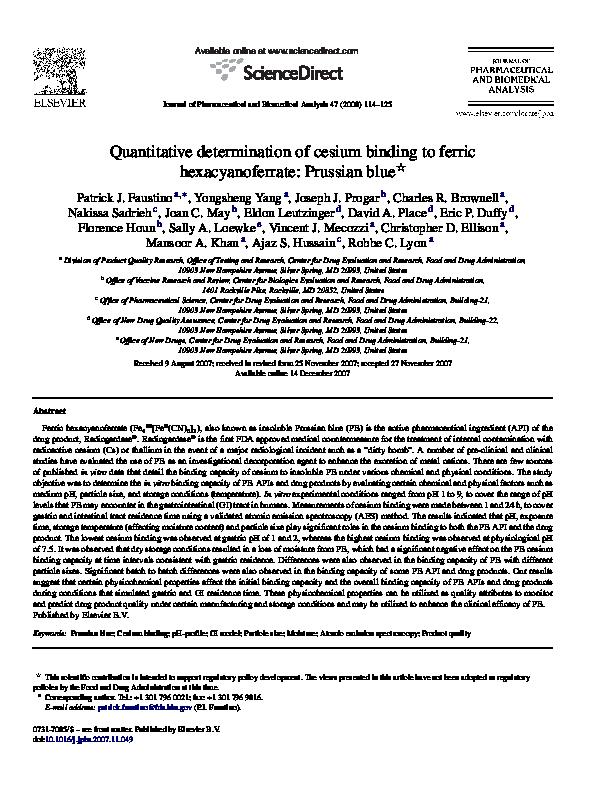 PDF) Quantitative determination of cesium binding to ferric