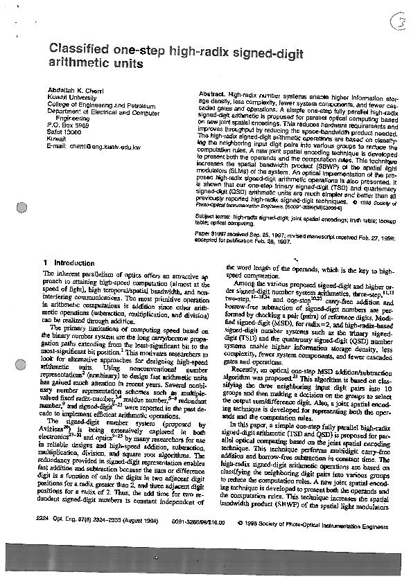 PDF) Classified one-step high-radix signed-digit arithmetic units