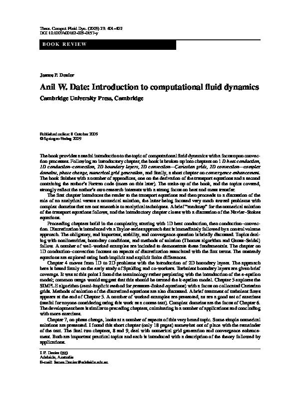 Madison : Introduction to computational fluid dynamics pdf