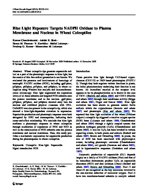 PDF) Blue Light Exposure Targets NADPH Oxidase to Plasma Membrane