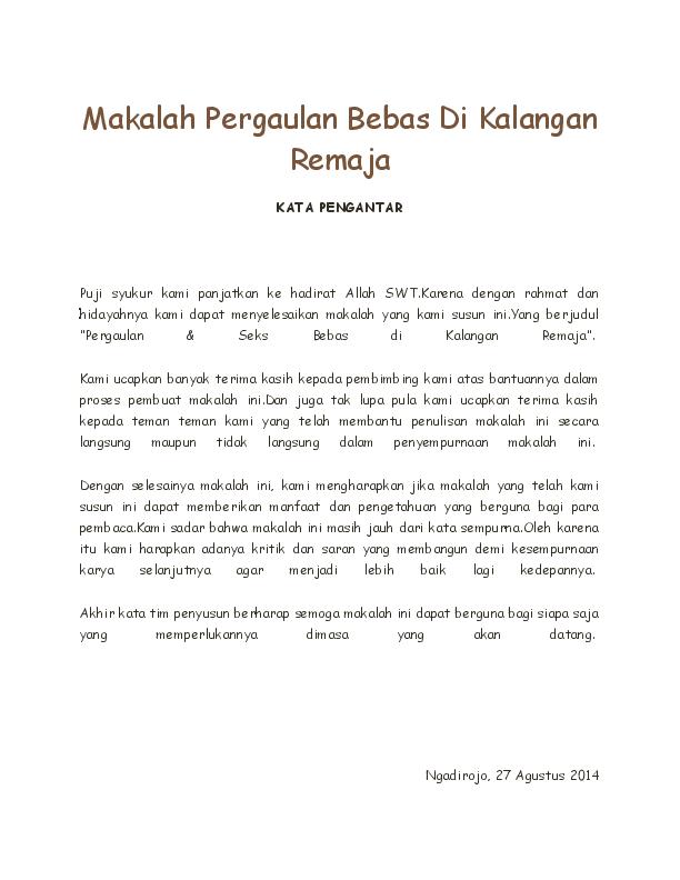 Doc Makalah Pergaulan Bebas Di Kalangan Remaja Heru Praseno Academia Edu