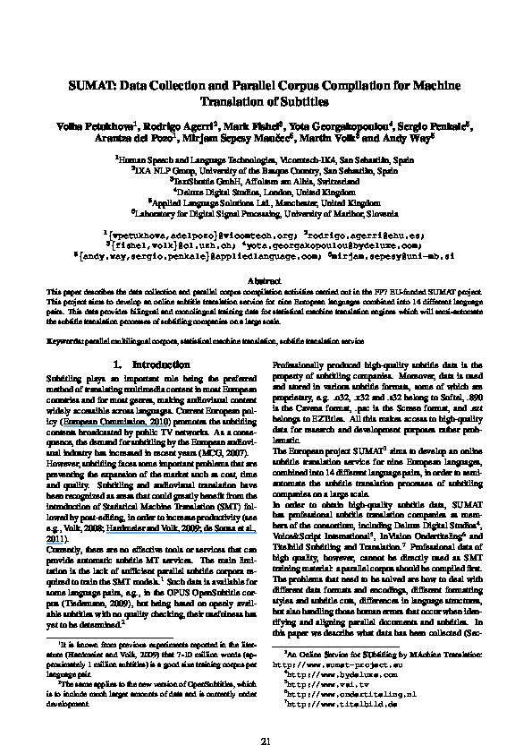 Pdf Sumat Data Collection And Parallel Corpus Compilation For Machine Translation Of Subtitles Yota Georgakopoulou And V Petukhova Academia Edu