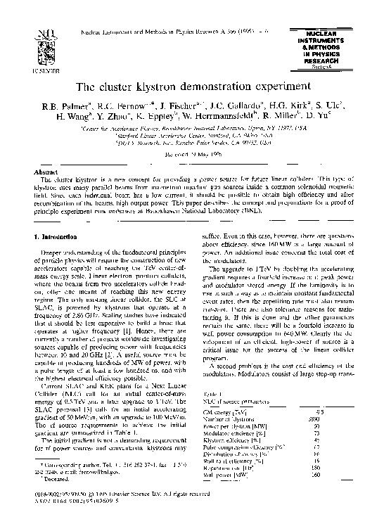 PDF) The cluster klystron demonstration experiment   Juan C