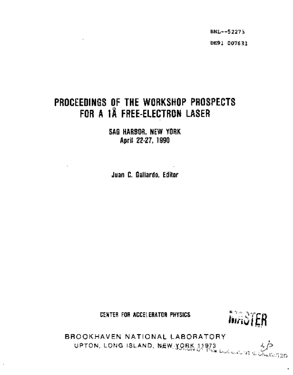 PDF) Proceedings of the workshop prospects for a 1 angstrom