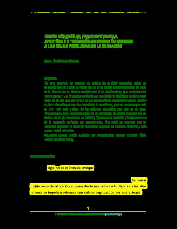 Pdf Diseño Curricular Por Competencias Apertura De Temas