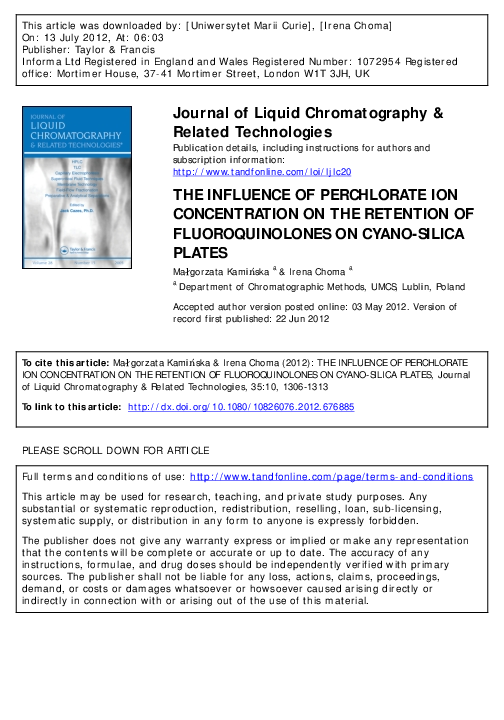 PDF) THE INFLUENCE OF PERCHLORATE ION CONCENTRATION ON THE
