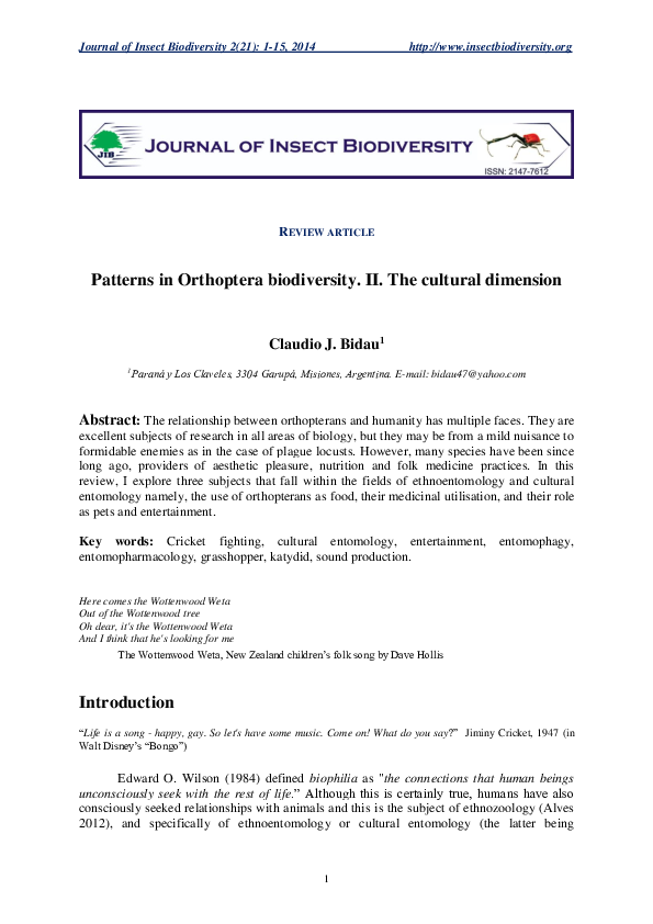 PDF) Patterns in Orthoptera biodiversity  II  The cultural