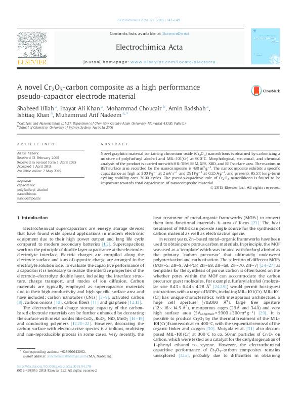 PDF) A novel Cr2O3-carbon composite as a high performance