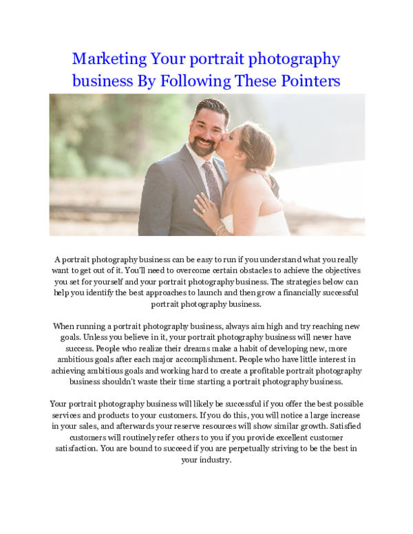 PDF) Marketing Your portrait photography business By Following These