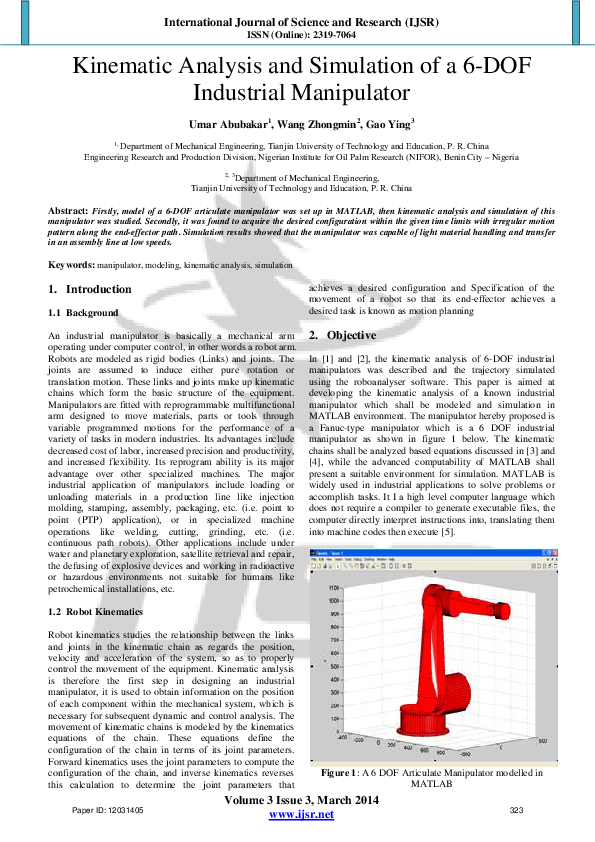 PDF) Kinematic Analysis and Simulation of a 6-DOF Industrial