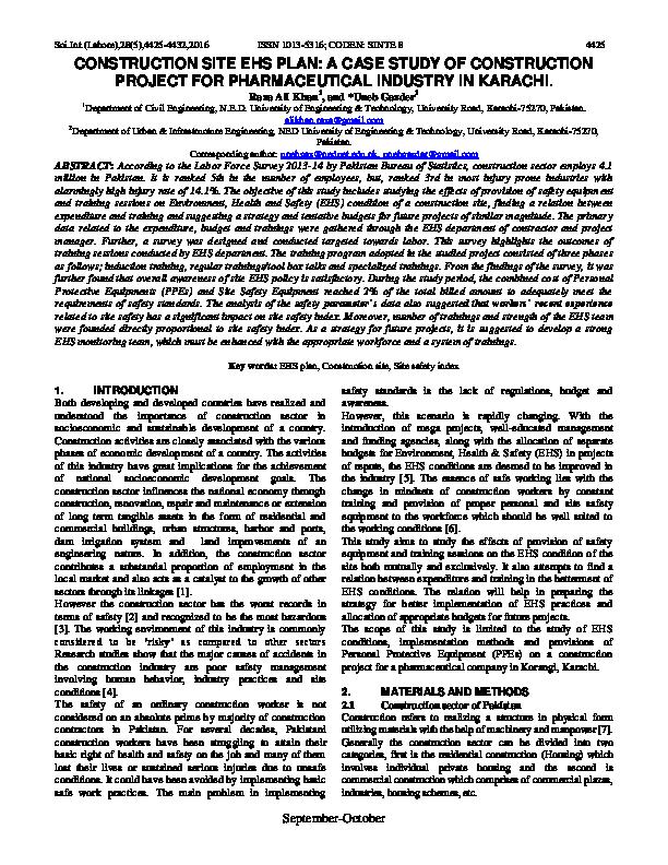 PDF) CONSTRUCTION SITE EHS PLAN: A CASE STUDY OF