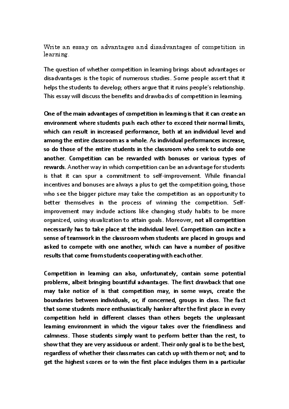 essay with an essay on the principle of population wikipedia  advantages and disadvantages of competition in learning essay pdf healthy  eating essays also business format essay