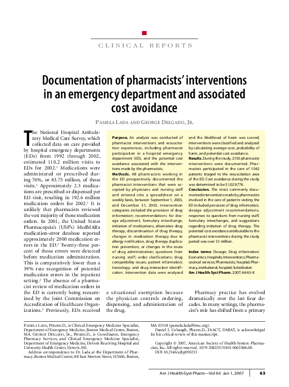 PDF) Documentation of pharmacists' interventions in an