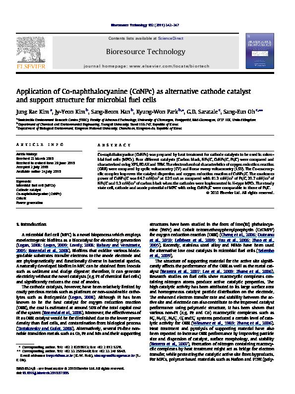 PDF) Application of Co-naphthalocyanine (CoNPc) as alternative