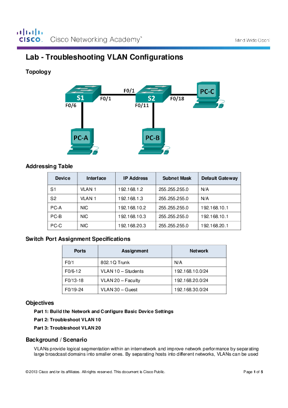 PDF) Lab -Troubleshooting VLAN Configurations Topology